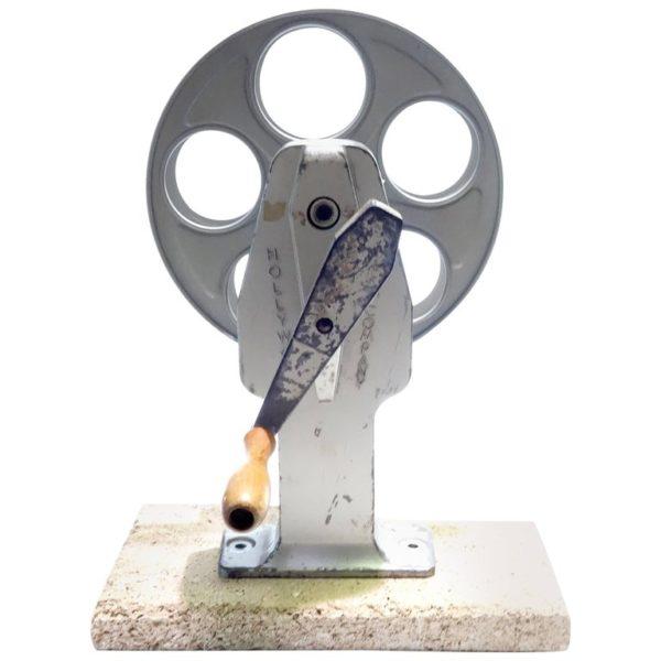 Cinema Movie Professional Film Rewind With Reel, Circa Mid Century, As Sculpture