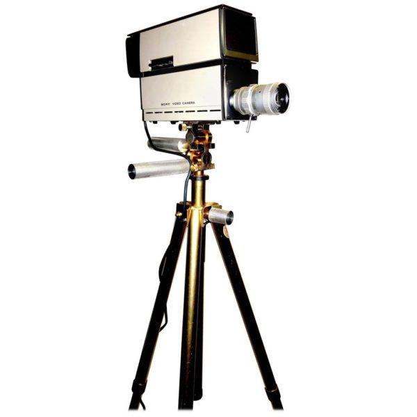 Sony Vintage Vidicon Video Camera, circa 1969-1970, with Tripod