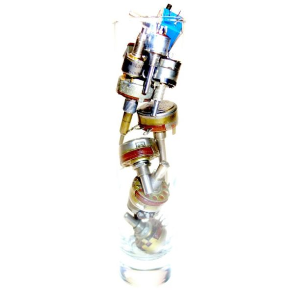 TV Electronic Potentiometer Sculpture, Circa Mid-Century In Glass Vase