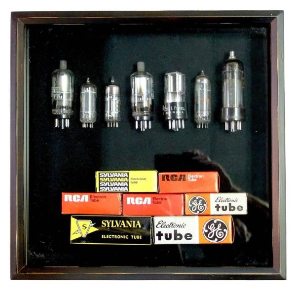 TV and Component Vacuum Tubes Mid-20th W Orig Boxs Sculpture In Shadow Box