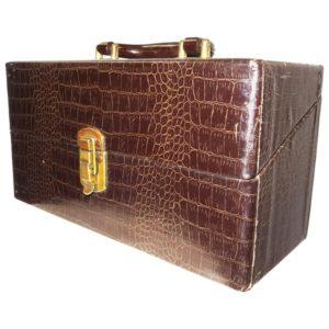Vintage Cinema Equipment Carry Case Patterned Croc Canvas on Wood, 1940s