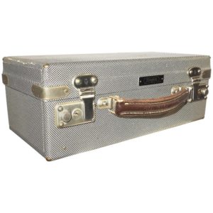 Vintage Hollywood Cinema Equipment Carry Case, Patterned Canvas on Wood, 1950s